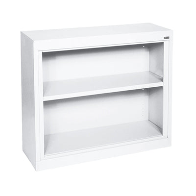 Elite Series Welded Steel Bookcase, 1 shelf and Bottom Shelf, 36x 18 x 30, White