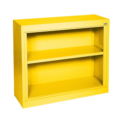 Elite Series Welded Steel Bookcase, 1 shelf and Bottom Shelf, 36x 18 x 30, Yellow