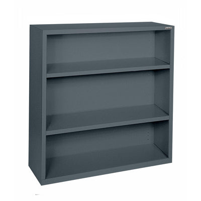 Elite Series Welded Steel Bookcase, 2 Shelves and Bottom Shelf, 34 x 12 x 42, Charcoal