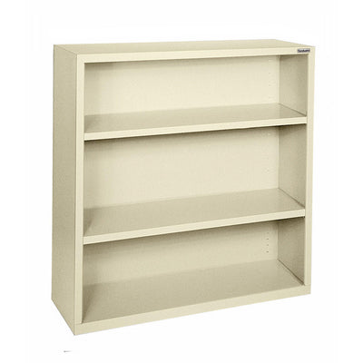 Elite Series Welded Steel Bookcase, 2 Shelves and Bottom Shelf, 34 x 12 x 42, Putty