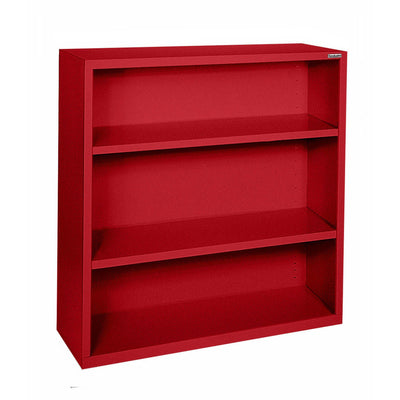 Elite Series Welded Steel Bookcase, 2 Shelves and Bottom Shelf, 34 x 12 x 42, Red