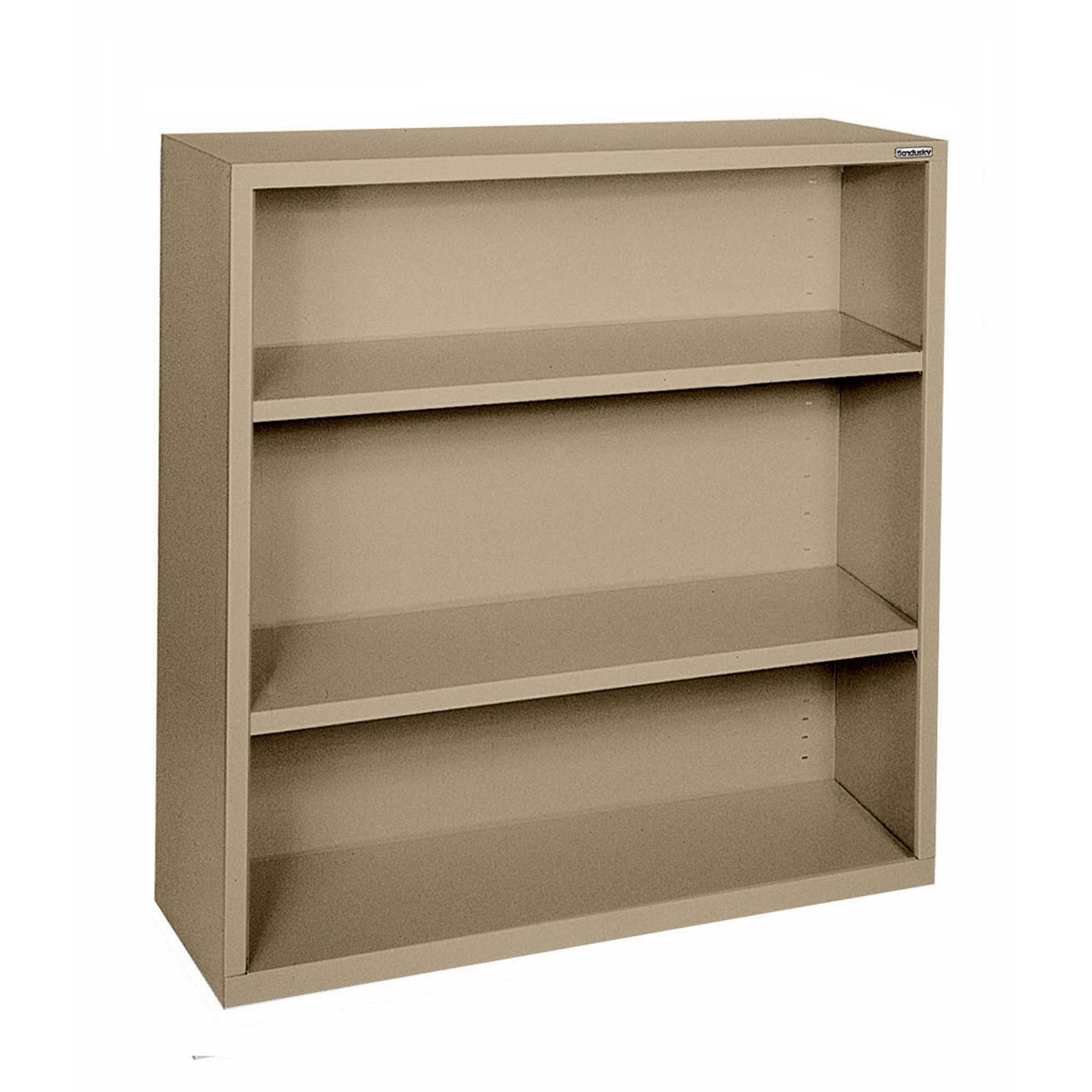 Elite Series Welded Steel Bookcase, 2 Shelves and Bottom Shelf, 34 x 12 x 42, Tropic Sand