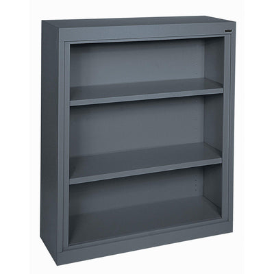 Elite Series Welded Steel Bookcase, 2 Shelves and Bottom Shelf, 36 x 18 x 42, Charcoal