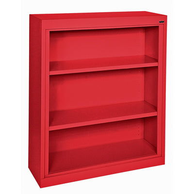 Elite Series Welded Steel Bookcase, 2 Shelves and Bottom Shelf, 36 x 18 x 42, Red