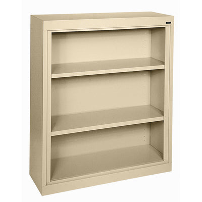 Elite Series Welded Steel Bookcase, 2 Shelves and Bottom Shelf, 36 x 18 x 42, Tropic Sand