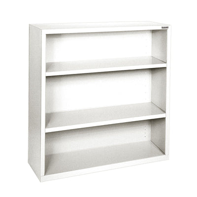 Elite Series Welded Steel Bookcase, 2 Shelves and Bottom Shelf, 46 x 18 x 42, White