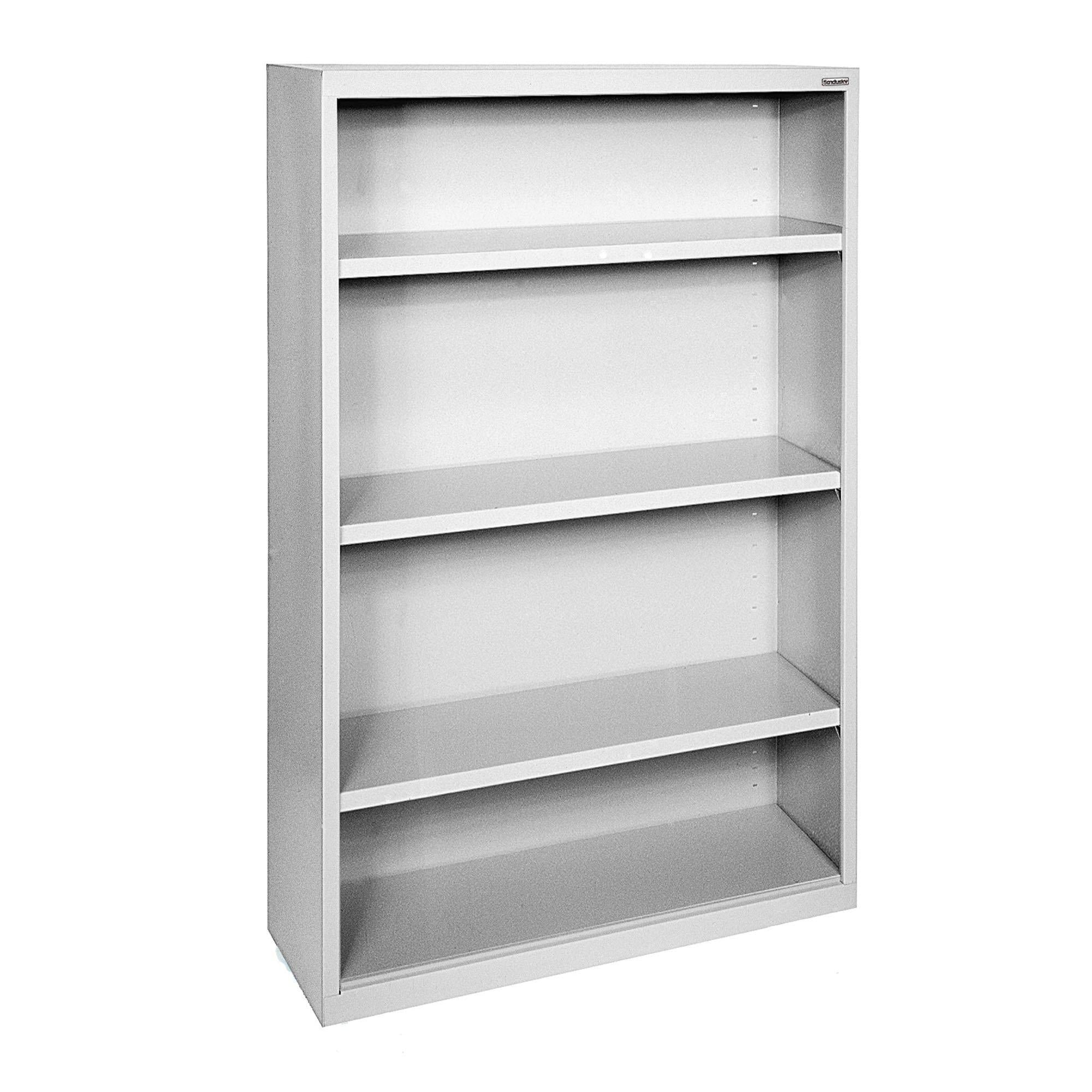Elite Series Welded Steel Bookcase, 3 Shelves and Bottom Shelf, 34 x 12 x 52, Dove Gray