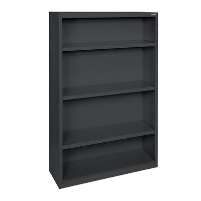 Elite Series Welded Steel Bookcase, 3 Shelves and Bottom Shelf, 34 x 12 x 60, Black