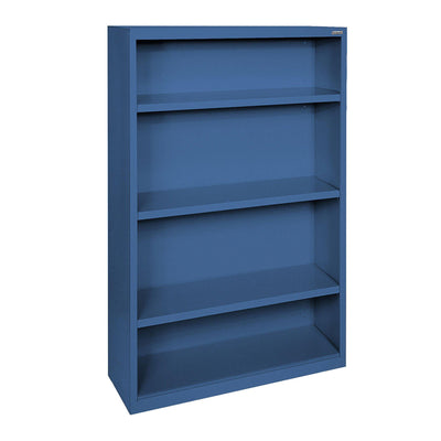 Elite Series Welded Steel Bookcase, 3 Shelves and Bottom Shelf, 34 x 12 x 60, Blue