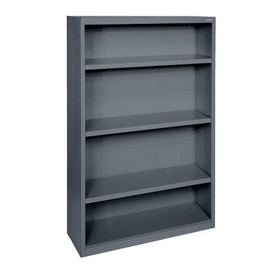 Elite Series Welded Steel Bookcase, 3 Shelves and Bottom Shelf, 34 x 12 x 60, Charcoal