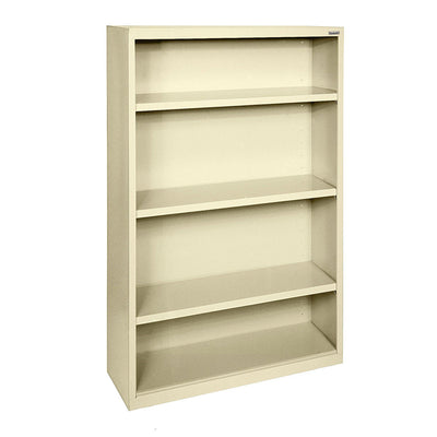 Elite Series Welded Steel Bookcase, 3 Shelves and Bottom Shelf, 34 x 12 x 60, Putty
