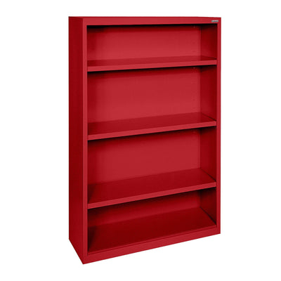 Elite Series Welded Steel Bookcase, 3 Shelves and Bottom Shelf, 34 x 12 x 60, Red