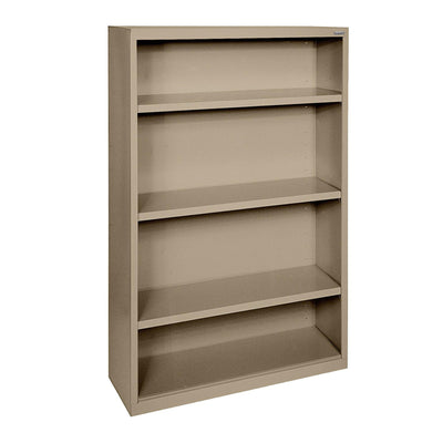 Elite Series Welded Steel Bookcase, 3 Shelves and Bottom Shelf, 34 x 12 x 60, Tropic Sand