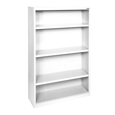 Elite Series Welded Steel Bookcase, 3 Shelves and Bottom Shelf, 34 x 12 x 60, White