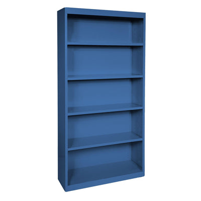 Elite Series Welded Steel Bookcase, 4 Shelves and Bottom Shelf, 36 x 18 x 72, Blue
