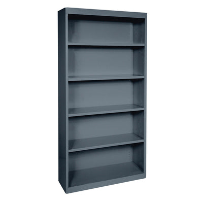 Elite Series Welded Steel Bookcase, 4 Shelves and Bottom Shelf, 36 x 18 x 72, Charcoal