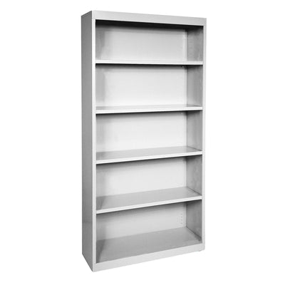 Elite Series Welded Steel Bookcase, 4 Shelves and Bottom Shelf, 36 x 18 x 72, Dove Gray