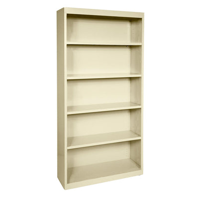 Elite Series Welded Steel Bookcase, 4 Shelves and Bottom Shelf, 36 x 18 x 72, Putty
