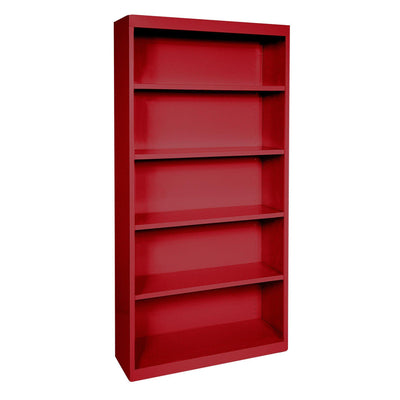 Elite Series Welded Steel Bookcase, 4 Shelves and Bottom Shelf, 36 x 18 x 72, Red
