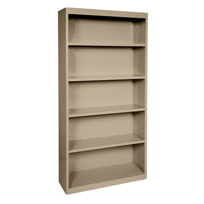 Elite Series Welded Steel Bookcase, 4 Shelves and Bottom Shelf, 36 x 18 x 72, Tropic Sand