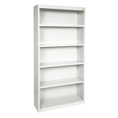 Elite Series Welded Steel Bookcase, 4 Shelves and Bottom Shelf, 36 x 18 x 72, White