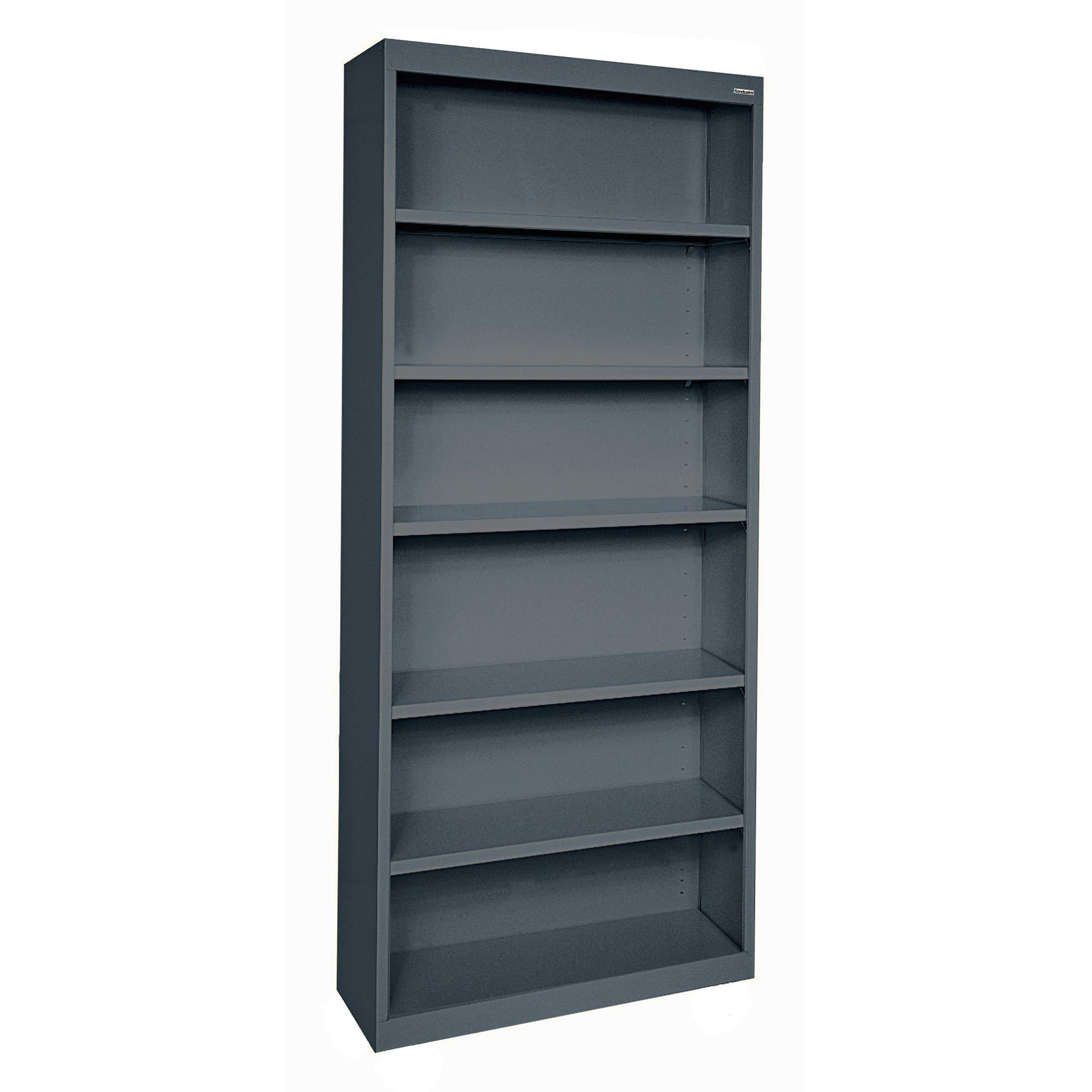 Elite Series Welded Steel Bookcase, 5 Shelves and Bottom Shelf, 34 x 12 x 82, Charcoal