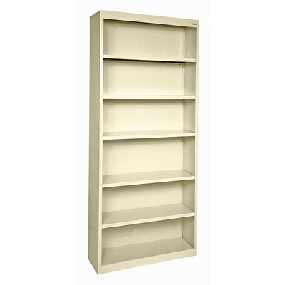 Elite Series Welded Steel Bookcase, 5 Shelves and Bottom Shelf, 34 x 12 x 82, Putty
