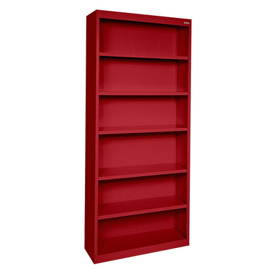 Elite Series Welded Steel Bookcase, 5 Shelves and Bottom Shelf, 34 x 12 x 82, Red