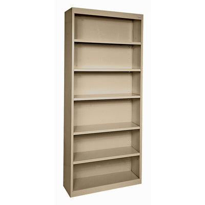 Elite Series Welded Steel Bookcase, 5 Shelves and Bottom Shelf, 34 x 12 x 82, Tropic Sand