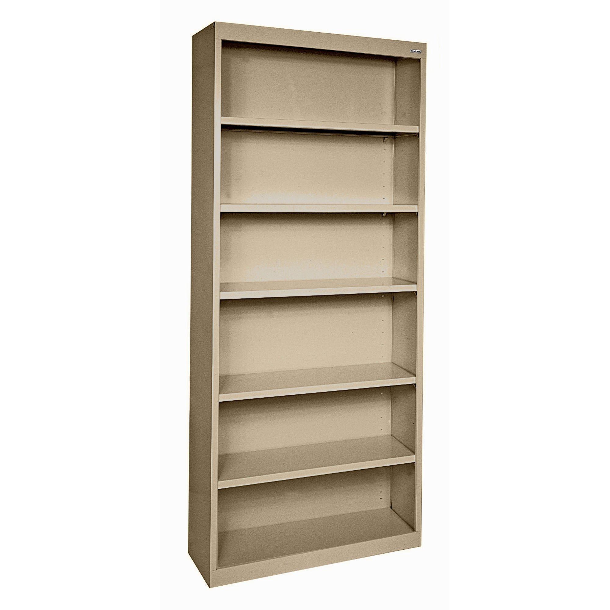 Elite Series Welded Steel Bookcase, 5 Shelves and Bottom Shelf, 36 x 18 x 84, Tropic Sand