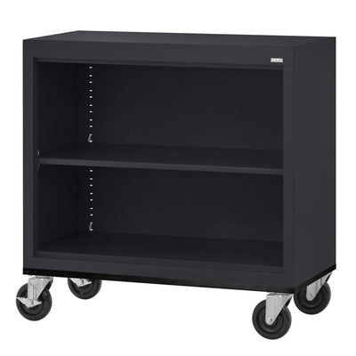 Elite Series Welded Steel Mobile Bookcase, 1 Shelf and Bottom Shelf, 36 x 18 x 30, Black