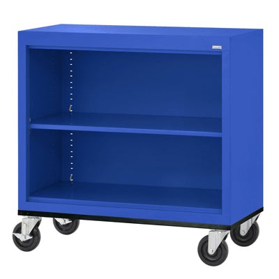 Elite Series Welded Steel Mobile Bookcase, 1 Shelf and Bottom Shelf, 36 x 18 x 30, Blue