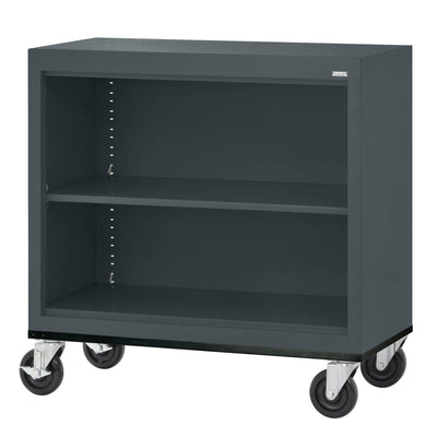 Elite Series Welded Steel Mobile Bookcase, 1 Shelf and Bottom Shelf, 36 x 18 x 30, Charcoal