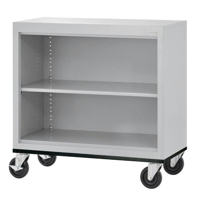 Elite Series Welded Steel Mobile Bookcase, 1 Shelf and Bottom Shelf, 36 x 18 x 30, Dove Gray