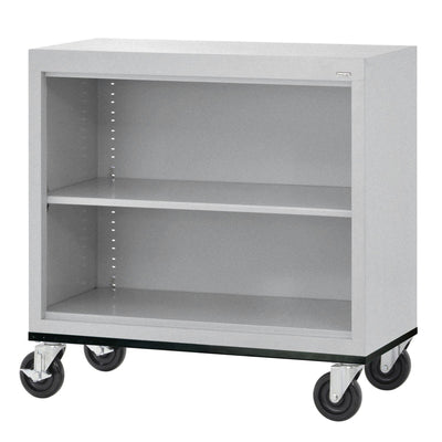 Elite Series Welded Steel Mobile Bookcase, 1 Shelf and Bottom Shelf, 36 x 18 x 30, Multi Granite