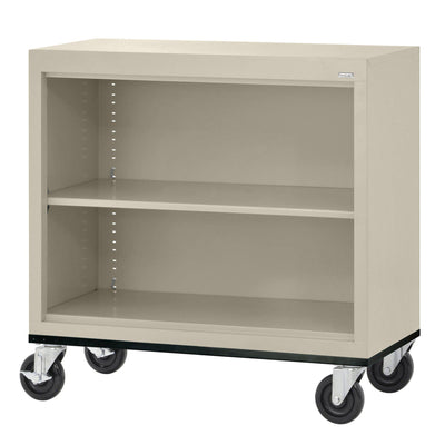 Elite Series Welded Steel Mobile Bookcase, 1 Shelf and Bottom Shelf, 36 x 18 x 30, Putty