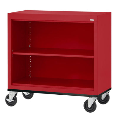 Elite Series Welded Steel Mobile Bookcase, 1 Shelf and Bottom Shelf, 36 x 18 x 30, Red