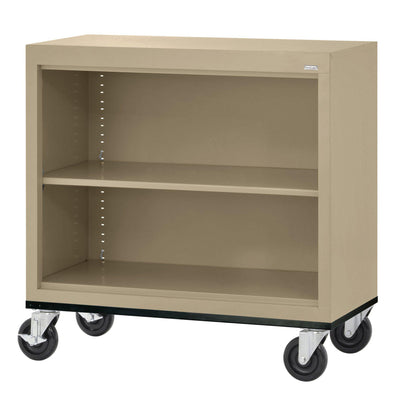 Elite Series Welded Steel Mobile Bookcase, 1 Shelf and Bottom Shelf, 36 x 18 x 30, Tropic Sand