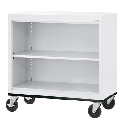 Elite Series Welded Steel Mobile Bookcase, 1 Shelf and Bottom Shelf, 36 x 18 x 30, White