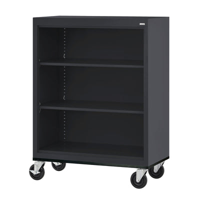 Elite Series Welded Steel  Mobile Bookcase, 2 Shelves and Bottom Shelf, 36 x 18 x 42, Black