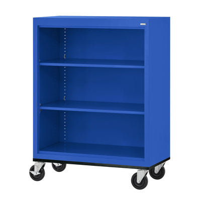 Elite Series Welded Steel  Mobile Bookcase, 2 Shelves and Bottom Shelf, 36 x 18 x 42, Blue