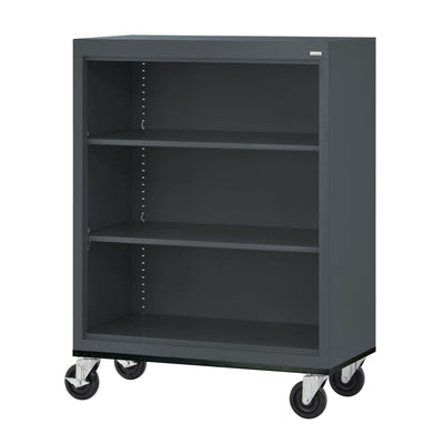Elite Series Welded Steel  Mobile Bookcase, 2 Shelves and Bottom Shelf, 36 x 18 x 42, Charcoal