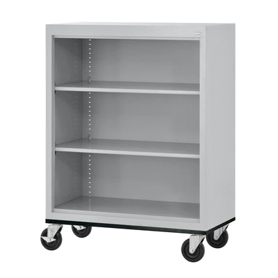 Elite Series Welded Steel  Mobile Bookcase, 2 Shelves and Bottom Shelf, 36 x 18 x 42, Dove Gray