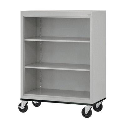 Elite Series Welded Steel  Mobile Bookcase, 2 Shelves and Bottom Shelf, 36 x 18 x 42, Multi Granite