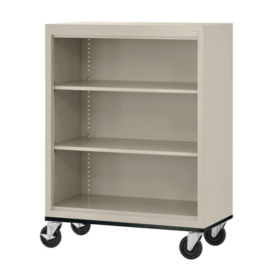 Elite Series Welded Steel  Mobile Bookcase, 2 Shelves and Bottom Shelf, 36 x 18 x 42, Putty