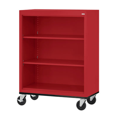 Elite Series Welded Steel  Mobile Bookcase, 2 Shelves and Bottom Shelf, 36 x 18 x 42, Red