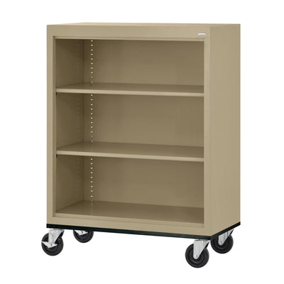 Elite Series Welded Steel  Mobile Bookcase, 2 Shelves and Bottom Shelf, 36 x 18 x 42, Tropic Sand