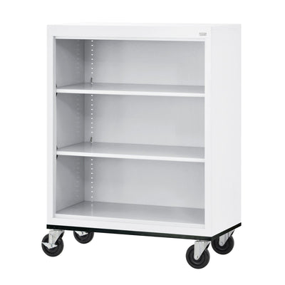 Elite Series Welded Steel  Mobile Bookcase, 2 Shelves and Bottom Shelf, 36 x 18 x 42, White