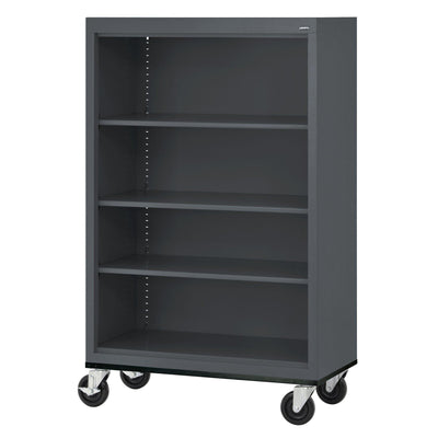 Elite Series Welded Steel  Mobile Bookcase, 3 Shelves and Bottom Shelf, 36 x 18 x 52, Charcoal