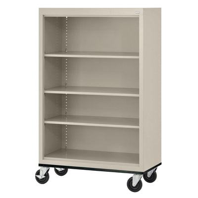 Elite Series Welded Steel  Mobile Bookcase, 3 Shelves and Bottom Shelf, 36 x 18 x 52, Putty